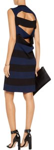 10 Crosby Derek Lam Cut-out Striped Mini Black Dress