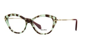 Miu Miu NEW Miu Miu VMU 02O Green Brown Tortoise Cat Eye Eyeglasses Frames