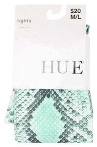 Hue NEW Hue Python Tights Reptile Lizard Print Fun Hosiery Aqua Grey creamy White M/L New in Pkg Mfg color Teal