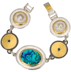 GURHAN Gurhan Galapagos Sterling Silver layered Yellow Gold Shell & Black Spi