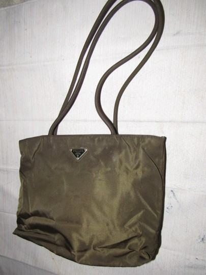 Prada Mint Vintage Chrome Hardware Has Cards.dust 2 Strap Great For Everyday Satchel in dark olive green and brown iridescent nylon