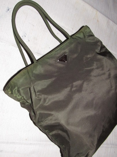 Prada Mint Vintage Chrome Hardware Has Cards.dust 2 Strap Dressy Or Casual Satchel in dark olive and brown iridescent nylon