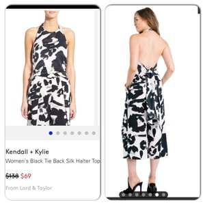Kendall + Kylie Black & White Halter Top