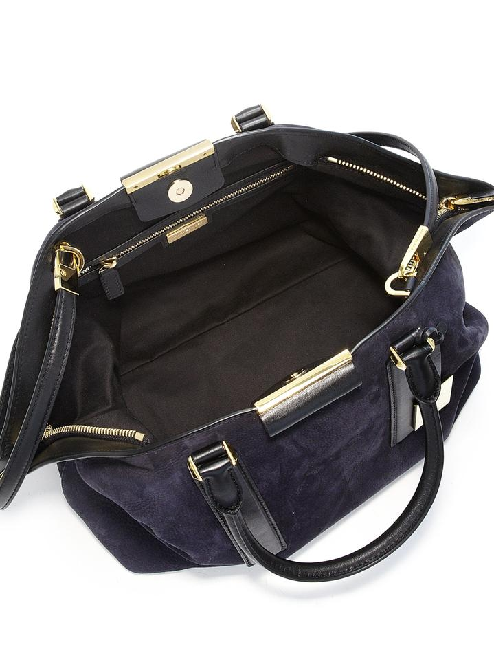 87268d259b82 Michael Kors Lexi Midnight Blue Suede Leather Satchel - Tradesy