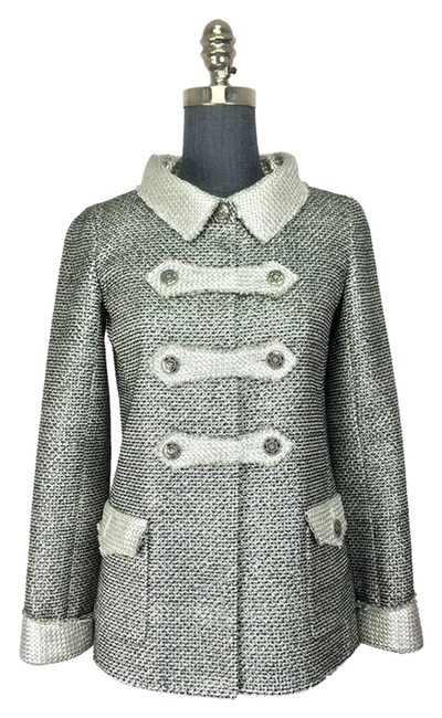 Chanel Silver Metallic Tweed Double Breasted Jacket Size 4 (S) Image 0
