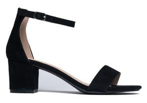 J. Adams Ankle Strap Open Toe Heel Suede Black Sandals