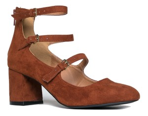 J. Adams Block Heel Suede Round Toe Zipper Closure Whiskey Suede Pumps