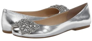 Betsey Johnson Ballerina Metallic Bow Jewelry Sale Clearance Blue By Betsey silver Flats