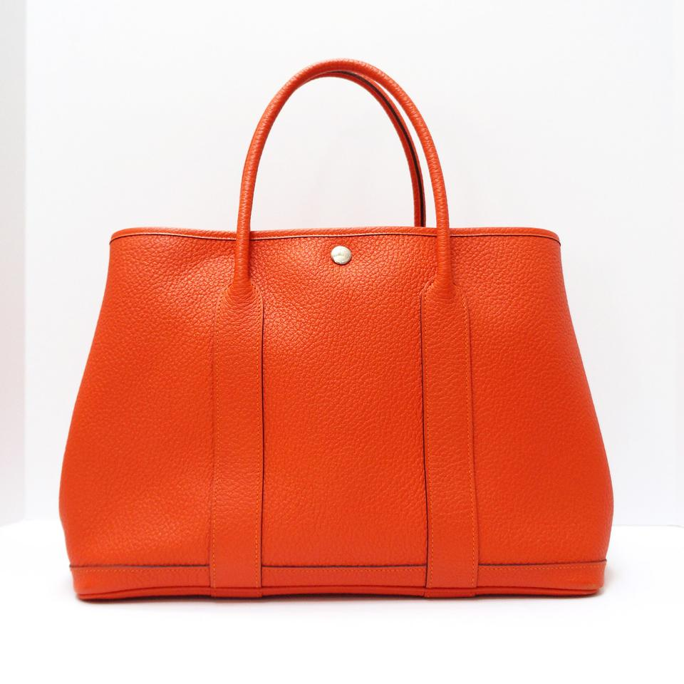 Hermès Garden Party Grained Gm Shopping Fire Orange Country Cowhide Leather  Tote 20e23b56b079d