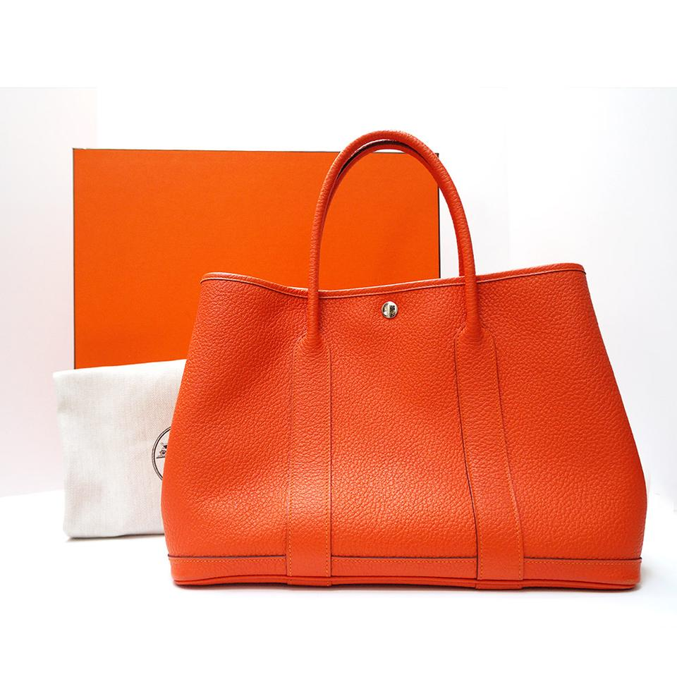 Hermès Garden Party Grained Gm Shopping Fire Orange Country Cowhide ... 1a29c0b05adf4