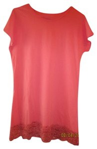 DownEast Basics Scoop Neck Lace Stretchy Long Legth Layering T Shirt Coral