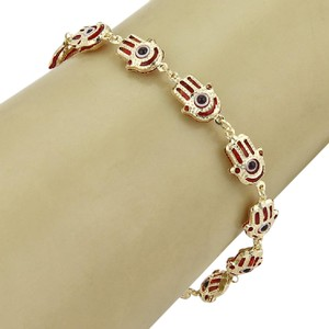 Hamsa Good Luck Hamsa Hand Red Enamel Multi Link 14k Yellow Gold Bracelet