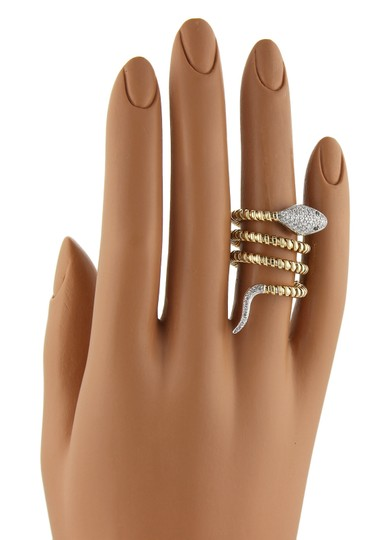 Other Diamonds Wire Snake Triple Wrap 18k Gold Ring