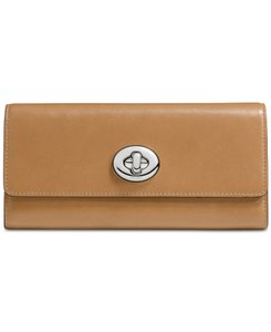 Coach Turnlock Slim Envelope Smooth Leather Wallet Walnut