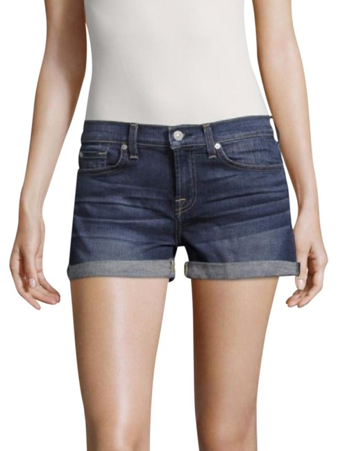 7 For All Mankind Denim Designer Cuffed Shorts Madison Blue
