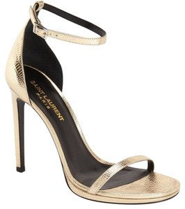 Saint Laurent Metallic Leather St. Laurent Ankle Strap Gold Pumps