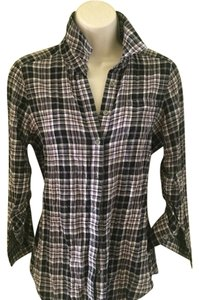 Elizabeth and James Button Down Shirt black beige