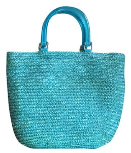 Other Vintage Lucite Straw Boho Festival Tote in green