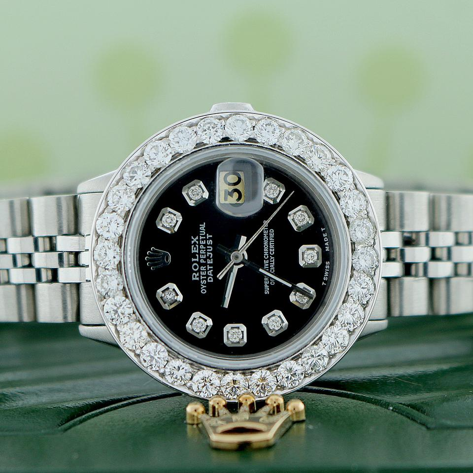 Rolex datejust ladies 26mm steel jubilee watch w diamond bezel dial for Jubilee watch