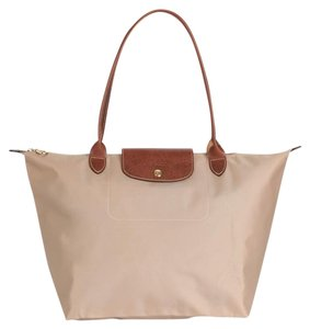 Longchamp Le Pliage Light Tan Nylon Made In France Tote Shoulder Bag