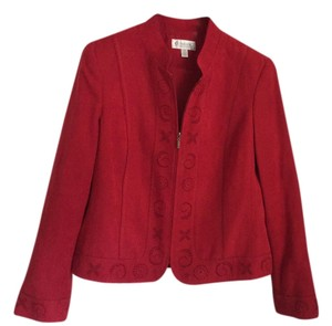 Conrad C Polyester Machine Washable On Gentle Cycle Soft Suede Cutout Detail Stand-collar Zipper Front Red Jacket