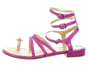 Chanel Interlocking Cc Camellia Gold Hardware Beaded Cage Purple, Gold Sandals