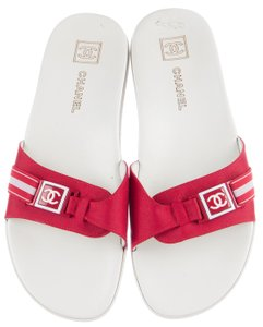 Chanel Interlocking Cc Camellia Gold Hardware Cage Sporty Red, White Sandals