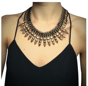 BCBGMAXAZRIA Leather Woven Spike Necklace