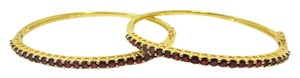 Technibond Technibond Red Garnet Gemstone Hinged Bangle Set Bracelet 7.5