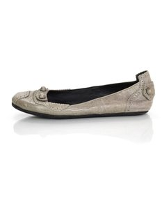 Balenciaga Distressed Leather Studded Grey Flats
