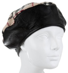 Burberry Beige, red multicolor Burberry Nova Check print wool beret M