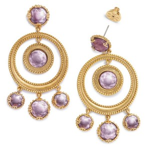 Tory Burch NEW TORY BURCH COIN STATEMENT EARRING/GOLD&PURPLE