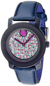 Movado Movado Bold 3600263 Blue Leather Strap Glitz Womens Watch