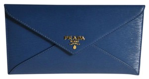 Prada Wallet Envelope Calfskin Textured Blue Clutch