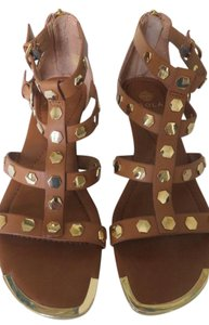 Isola Studded Leather Back Zipper Tan Sandals