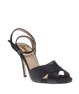 Saint Laurent Leather Satin Black Sandals