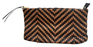 Christopher Kon Leather Woven black and beige Clutch