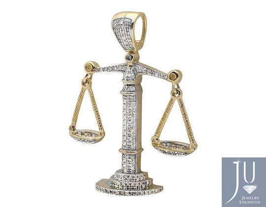 Other 10K Yellow Gold Weighing Scale 1.5 Inch Diamond Pendant Charm 0.55ct