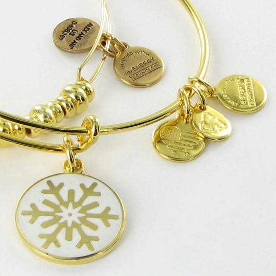 Alex and Ani A15HCLSNFLYG Holiday Snowflake Set of 2 Expandable EWB Bracelet Yellow