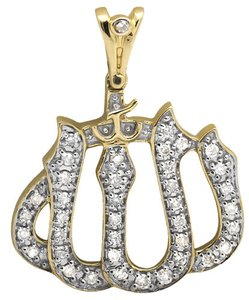 Other 10k Yellow Gold Islamic Allah Scripture Diamond Charm Pendant 0.50ct