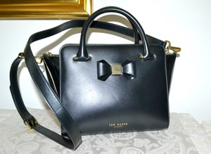 Ted Baker Ashlene Leather Bow Tote Satchel in Black