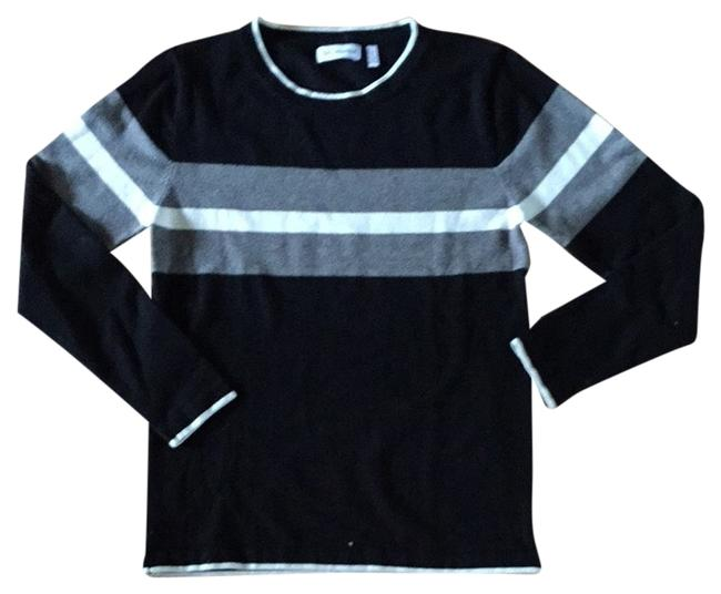 Preload https://item5.tradesy.com/images/525-america-black-with-white-trim-color-blocked-stripe-sweaterpullover-size-12-l-2102784-0-0.jpg?width=400&height=650