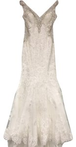 Allure Bridals Ivory Satin & Lace 9356 Formal Wedding Dress Size 2 (XS)
