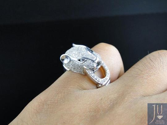 Jewelry Unlimited White Gold Finish Diamond Panther Desinger Fashion Pinky Ring 1 Ct