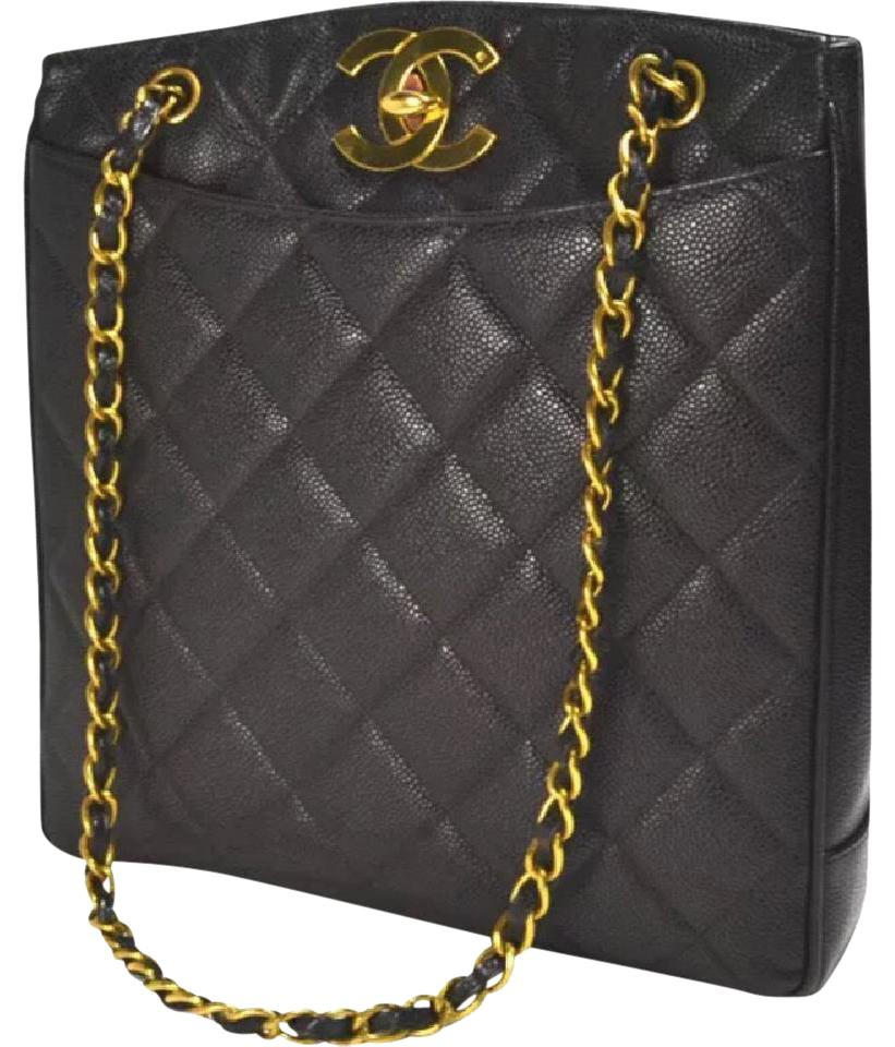0b1472373007 Chanel Shoulder Bag Vintage Caviar Quilted Jumbo Cc Shopper Tote ...