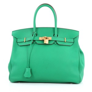 Hermès Leather Tote in menthe green