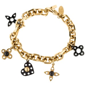 Louis Vuitton Gold-tone Louis Vuitton LV logo charm bracelet