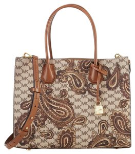 Michael Kors Leather Paisley Tote in LUGGAGE