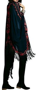 Free People FREE PEOPLE Blue Lace Poncho Muche et Muchette Neon Ruana Cape OS NEW