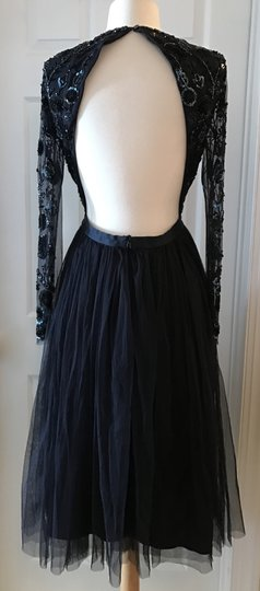 Needle & Thread Midnight Poly Anthropologie By and Bhldn Lida Beaded Sexy Bridesmaid/Mob Dress Size 8 (M)